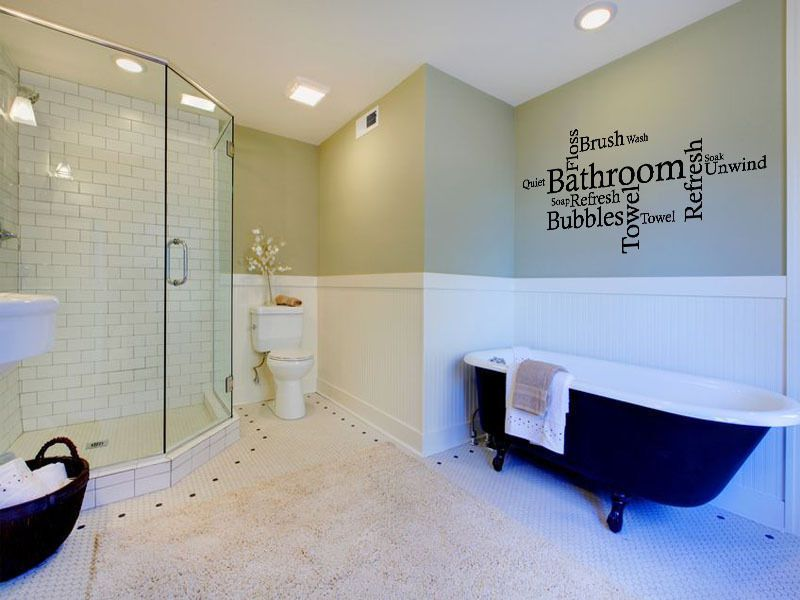 Bathroom Wall Quote Word Cloud Wall Art Sticker Decal